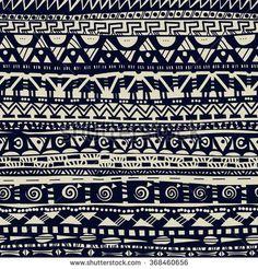 primitive folk geometric black and white seamless pattern
