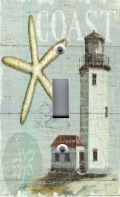 Light Switch Plate & Outlet Covers BEACH DECOR ~ COASTAL STARFISH LIGHTHOUSE in Switch Plates & Outlet Covers   eBay