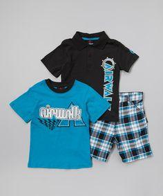 Look at this #zulilyfind! Black & Blue 'Airwalk' Polo Set - Infant & Toddler by Cherry Stix #zulilyfinds