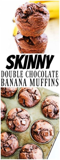 Low Carb Recipes To The Prism Weight Reduction Program Skinny Double Chocolate Banana Muffins - Made With Whole Grains, Flax Seed, Greek Yogurt And Dark Chocolate, You Will Love This Healthier Delicious Treat. Zucchini Muffins, Muffins Blueberry, Chocolate Banana Muffins, Mini Desserts, Healthy Desserts, Delicious Desserts, Yummy Food, Healthy Recipes, Healthy Appetizers