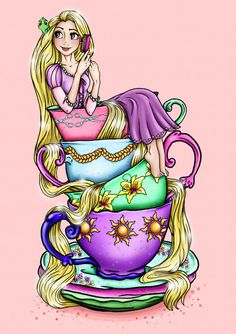 Teacup Rapunzel A4 Art Print by Hungry Designs por HungryDesigns