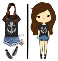 """""""Chibi IRL 2"""" by shinedownsiren ❤ liked on Polyvore featuring GUESS, Fifth Sun, Topshop and Dr. Martens"""
