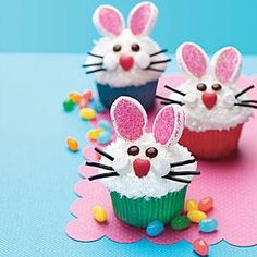 Bunny Face Cupcakes - Decorate store-bought cupakes for Easter by making cute bunny faces with marshmallows, coconut, pretzels, and an assortment of candy.
