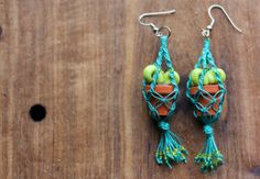 Macramé Plant Hanger Earrings // Polymer Clay by bytherockandweed, $26.00