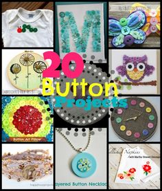 20 Button Crafts at www.happyhourprojects.com  #crafts #buttons #buttoncrafts