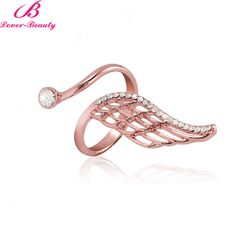 Lover Beauty New Fashion Jewelry Creative Ring Alloy Plating Gold Rose Gold Feathers Pearl Zircon Ring-F
