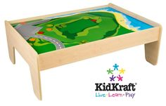 Kid Kraft Honey Train Table w/ 2 Bins & 120pc Garage Town Set. Read ...