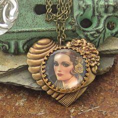 Retro Brass Heart Necklace Hollywood Regency, 1920s Vintage Style Patina Jewelry