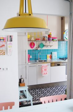 Blue tile kitchen multicolor