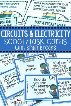 Get your students up and moving with this fun and engaging Circuits & Electricity SCOOT game which includes 32 task cards with open-ended questions, all requiring critical thinking skills, and 8 cards with brain breaks. They are perfect for review or assessment. #circuits #electricity #lightenergy #electricalcircuits #sciencetaskcards #scoot