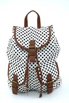 Γυναικείο σακίδιο πλάτης πουά σε ασπρόμαυρες αποχρώσεις. Κλείνει με μαγνητικό κούμπωμα και το ύφασμα του είναι εξαιρετικής ποιότητας canvas. Backpacks, Bags, Fashion, Handbags, Moda, Fashion Styles, Backpack, Fashion Illustrations, Backpacker