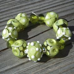 Lampwork glass beads rounds Olive Green by beadaddicts on Etsy
