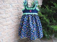 crochet top, fabric skirt