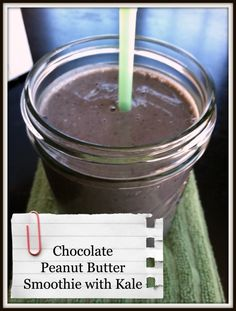 Chocolate Peanut Butter Smoothie with Kale -For this 260 calorie smoothie, I used 8 ounces of unsweetened vanilla almond milk, 2 scoops of Shaklee180 chocolate smoothee mix (you may substitute another brand of chocolate protein powder), 1 tablespoon of Powdered Peanut Butter, 1 tablespoon of Powered Chocolate Peanut Butter, and a handful of the chopped Kale