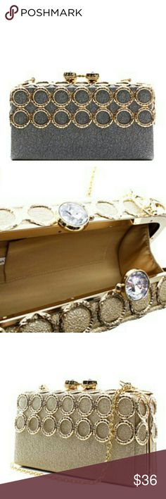 Clutch Charcoal gray box shape clutch with gold design Bags Clutches & Wristlets