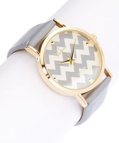 Another great find on #zulily! Gray Zigzag Leather-Strap Watch #zulilyfinds I love this watch!