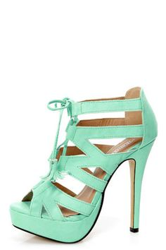 Mint Lace Up Platform Heels