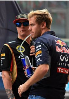 Kimi Raikkonen and Sebastien Vettel, India 2013...Such a bromance. I love it.