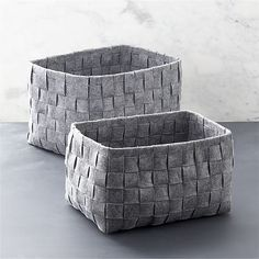 """WovenFeltBinS2CSS13 Set of two woven felt bins. 15.25""""Wx10.25""""Dx9""""H small and 17.5""""Wx12""""Dx10.25""""H large. $30 and $35"""
