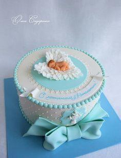 Baby Girl Christening Cake, Baby Girl Birthday Cake, Baby Girl Cakes, Torta Baby Shower, Baby Shower Cakes For Boys, Angel Cake, Mermaid Cakes, Cupcake Cakes, Babyshower