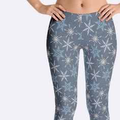 2596ba1e6fc55a Snowflake Leggings, Snowflake Clothing, Snow Leggings, Winter Leggings,  Unique Leggings, Christmas Leggings, Print Leggings, Yoga Pant