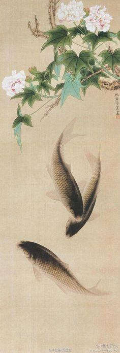 朱佩君 工笔花鸟画《芙蓉鲤鱼》--- 整幅作品工整细致,主题突出,画面简洁,造型能力强,富于节奏感。柔韧有弹性的线条,清新的色调,严谨的造型,描绘了一幅芙蓉盛开,鲤鱼嬉戏,生机盎然,充满情趣的画面。