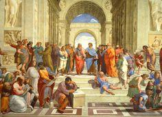La escuela de Atenas, por Rafael Sanzio es una obra pintada entre 1510 y 1512, en la que podemos encontrar muchos de los filósofos mencionados anteriormente como Platón, Aristóteles o Pitágoras.
