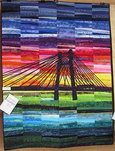 """Camping du point de Bourgogne by sunset"" ~ by Jytte Larsen from Danish quilt exhibition in Alsace, 2013 