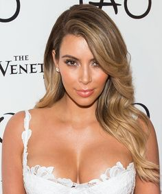 Kim Kardashian Hairstyle - Formal Long Straight. Click on the image to try on this hairstyle and view styling steps!