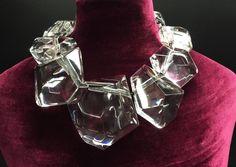 "Monies Gerda Lynggaard Black Leather  Faceted Lucite Single Strand 20"" Necklace #StrandString"