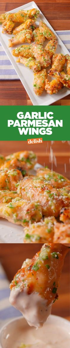 These garlic parmesan wings are so crispy, you'll forget they're homemade. Get the recipe on http://Delish.com.