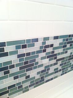 Daltile, Glazed Wall Tile in Arctic White & Winter Blues Brick Joint Mosaic, CW27