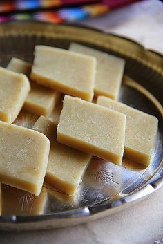 Kaju katli (also known as Kaju Katri or Kaju barfi) is an Indian dessert similar to a barfi. Kaju means cashew nut in Hindi. Barfi is often but not always, made by thickening milk with sugar and other ingredients (dry fruits and mild spices).