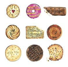 Doodle art food ideas 23 new ideas Gcse Art Sketchbook, Food Artists, Food Painting, Food Drawing, Good Enough To Eat, Everyday Objects, Cookies Et Biscuits, Food Illustrations, Watercolor Illustration