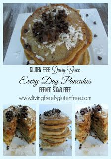 Gluten Free, Dairy Free, Refined Sugar Free, delicious and easy pancakes. These will be your go-to. www.livingfreelyglutenfree.com