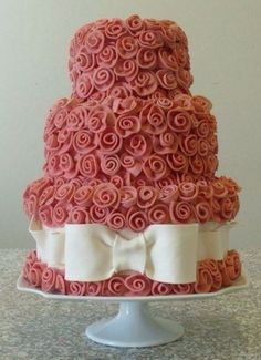 faaffe35bc Pink flower with white bow cake Wedding Cake Roses