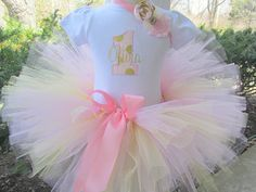 Pink and Gold Polka Dot Glitter 1st Birthday Tutu Set with Matching Headband by avannabelbaby on Etsy https://www.etsy.com/listing/227161079/pink-and-gold-polka-dot-glitter-1st