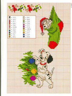Patron Noël point de croix 101 Dalmatiens Disney
