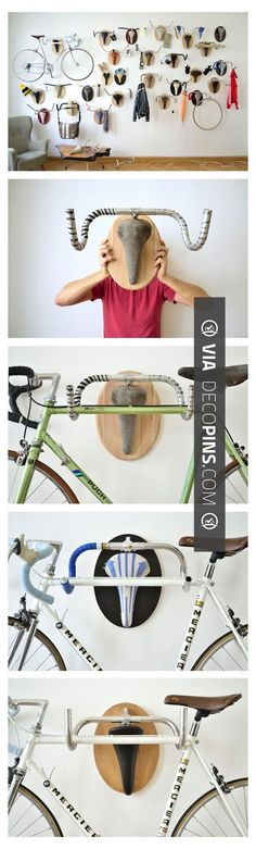Awesome! - Almost like a skull rack- but a bike's bar and seat as a current bike rack | CHECK OUT MORE REMODELING IDEAS AT DECOPINS.COM | #remodeling ideas #remodel #remodeling #renovate #renovating #kitchen #kitchens #bathroom #bathrooms #kitchenremodel #bathroomremodel #bathroomfacelift #homedecor #homedecoration #decor #livingroom #walls #homeaddition