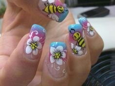 Animal nails Claire's Nails, Hair And Nails, Flower Nail Art, Beautiful Nail Art, S Pic, Health And Beauty, Mary, Flowers, How To Make