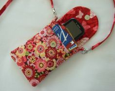 Cell Phone Gadget Case Detachable Neck Strap Quilted Designer Fabric Pink Red Yellow Green Floral