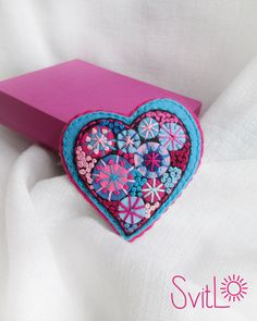 Happy heart.Deep Sky Blue Pink Fireworks.Felt brooch.Valentine's Day gift.Hand embroidery. French knot.Folk Art Felt brooch Gift for her. by SvitLoShop on Etsy https://www.etsy.com/listing/264461084/happy-heartdeep-sky-blue-pink