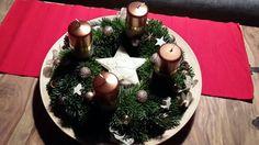 Adventkranz 2015 Advent, Tree Skirts, Christmas Tree, Table Decorations, Holiday Decor, Home Decor, Homemade Home Decor, Xmas Tree, Xmas Trees