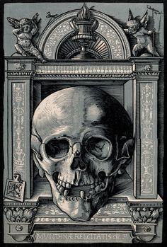 """Memento Mori / Chiaroscuro woodcut) - Hans Wechtlin I "" Chiaroscuro, Memento Mori, Dance Of Death, Kunst Poster, Occult Art, Poster Prints, Art Prints, National Gallery Of Art, Arte Horror"