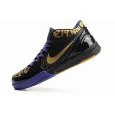 huge selection of cb820 32ea3 Fitted For Nike Zoom Kobe IV Mens Basketball Shoes - Black Gold Violet-