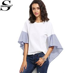 Sheinside White Striped Asymmetric Bell Sleeve Top Ladies Round Neck Color Block Half Sleeve Fashion Blouse