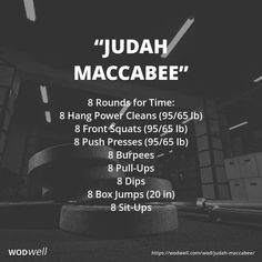 """Judah Maccabee"" Hanukkah Holiday WOD Happy (almost) Hanukkah! This Hanukkah Holiday WOD is dedicated to Judah Maccabee, a Kohen, and Crossfit Workouts At Home, Crossfit Abs, Wod Workout, Workout Challenge, Easy Workouts, Crossfit Lifts, Spartan Workout, Insanity Workout, Workout Exercises"