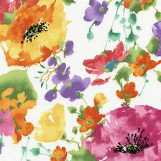 Timeless Treasures House Designer - Daydream - Watercolor Floral in White