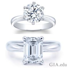 Round brilliant cut natural diamond engagement ring (left) and emerald cut natural diamond engagement ring (right).