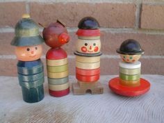 4 Vintage Czechoslovakia Wooden Stacking Toys Wood